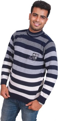 Marino Club Self Design Round Neck Men's Dark Blue Sweater