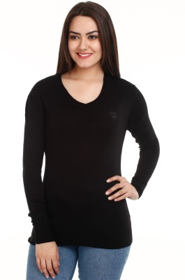 Mustard Solid V-neck Casual Women's Black Sweater