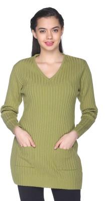 CLUB YORK Self Design V-neck Casual Women's Green Sweater
