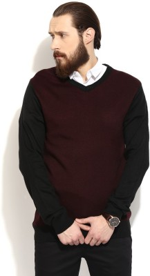COBB Solid V-neck Casual Men's Maroon Sweater