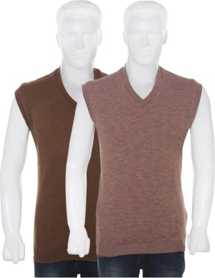 Vivek Solid V-neck Casual Men's Reversible Brown Sweater