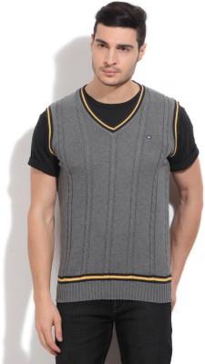 Arrow Sports Self Design Casual Men's Grey Sweater