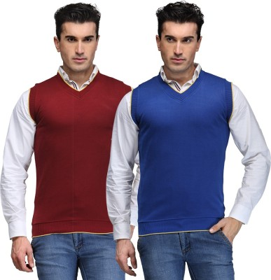 TSX Solid V-neck Casual, Party, Formal Men's Blue Sweater