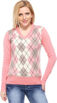 Fasnoya Argyle V-neck Casual Women's Pink, Orange Sweater