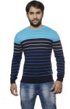 AMX Striped Round Neck Casual Men Dark B...
