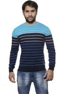 AMX Striped Round Neck Casual Men's Dark Blue Sweater