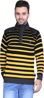 BRAVEZI Striped Turtle Neck Casual Men,s Black, Yellow Sweater