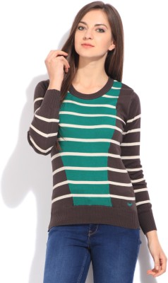 Flying Machine Striped Round Neck Casual Women White, Grey, Green Sweater at flipkart