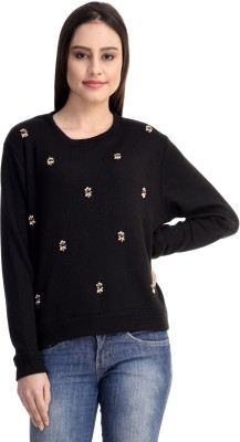 Belly Bottom Embroidered Round Neck Casual, Party, Formal Women's Black Sweater
