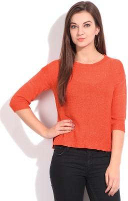 Elle Solid Casual Women's Orange Sweater