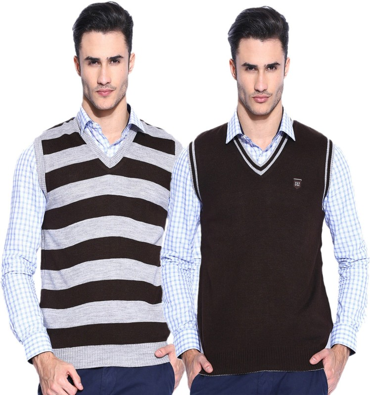 Sports 52 Wear Striped V-neck Casual Men Reversible Brown Sweater