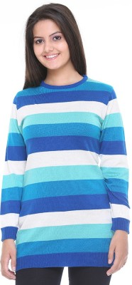 Cee-For Striped Round Neck Casual Women's Multicolor Sweater