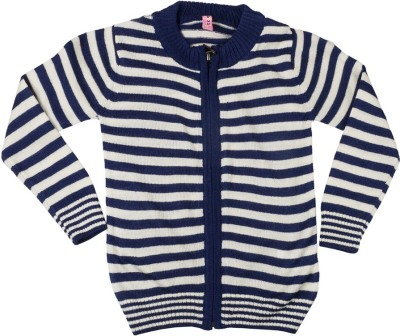 Tickles By Inmark Striped Round Neck Casual Girl's Blue Sweater