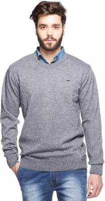 Aeroglide Self Design V-neck Casual Men's Grey Sweater
