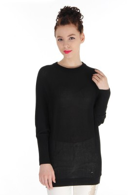 Pepe Jeans Solid Round Neck Casual Women,s Black Sweater