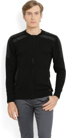 Ed Hardy Solid Round Neck Casual Men Black Sweater