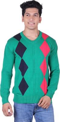 Ogarti Solid, Argyle V-neck Casual Men,s Green, Black, Red Sweater