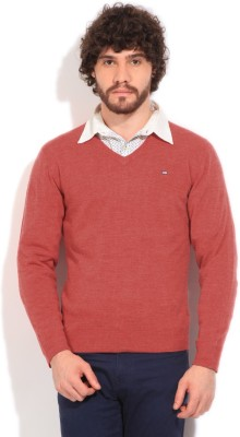 Arrow Sports Solid V-neck Casual Men's Red Sweater