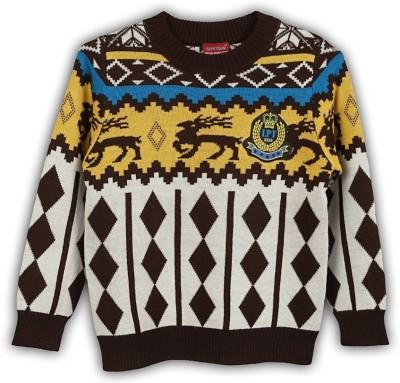 Lilliput Argyle Round Neck Casual Boy's Multicolor Sweater