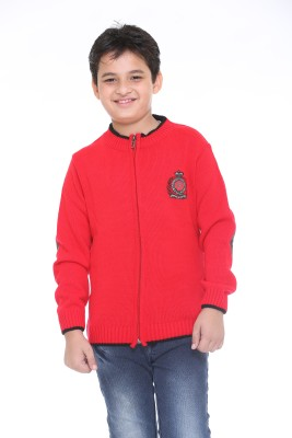 Superkids Solid Round Neck Casual Boy's Red Sweater