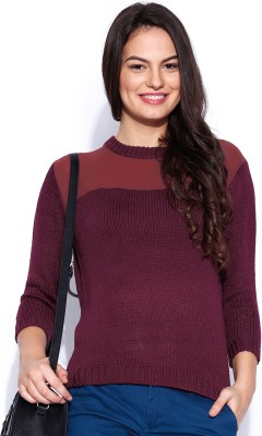 Dressberry Solid Round Neck Casual Women's Maroon Sweater