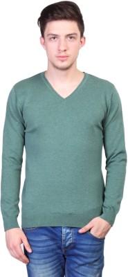 Kalt Solid V-neck Casual Men's Green Sweater