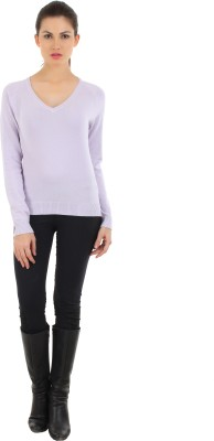 FashionHaven Solid Round Neck Casual Women's White Sweater