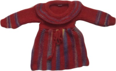 Bebzcozzy Striped Round Neck Girl's Red Sweater