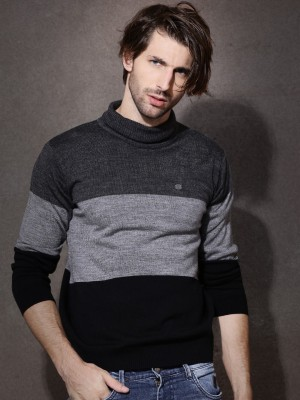 Roadster Solid Turtle Neck Casual Men's Grey Sweater