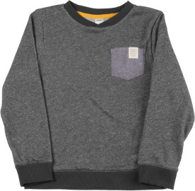 Carter's Solid Boat Neck Casual Boys Grey Sweater