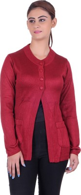 eWools Solid Round Neck Casual Women's Red Sweater