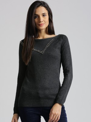 Dressberry Self Design Round Neck Casual Women's Grey Sweater