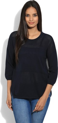 United Colors of Benetton Solid Round Neck Casual Women Blue sweater