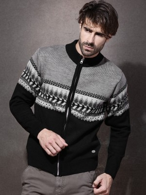 Roadster Self Design Turtle Neck Casual Men's Black Sweater