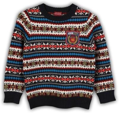 Lilliput Self Design Round Neck Casual Boy's Multicolor Sweater