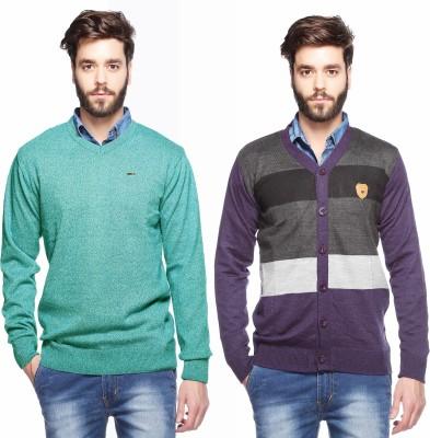 Aeroglide Solid, Striped V-neck Casual Men's Green, Multicolor Sweater