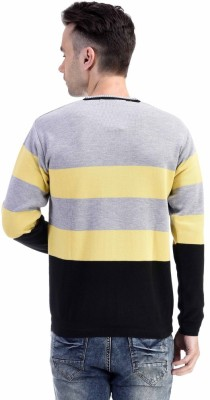 CLUB AVIS USA Striped V-neck Casual Men's Yellow Sweater