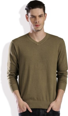 HRX by Hrithik Roshan Solid V-neck Casual Men Brown Sweater