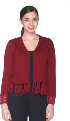 CLUB YORK Self Design V-neck Casual Women's Maroon Sweater