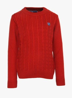 612 League Printed Round Neck Casual Girl's Red Sweater