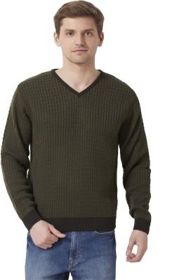 Peter England Woven V-neck Casual Men's Dark Green Sweater