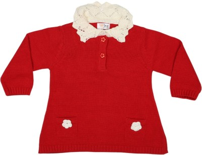 Mom & Me Solid V-neck Casual Baby Girl's Red Sweater