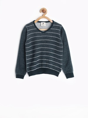 Yellow Kite Striped V-neck Casual Boy's Dark Blue Sweater