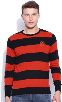Harvard Striped Round Neck Men's Orange Sweater