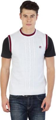 Fila Self Design Round Neck Sports Men's White, Black, Red Sweater