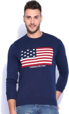 Wrangler Solid Round Neck Casual Men's Dark Blue Sweater