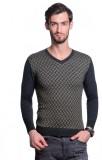 Tsavo Self Design V-neck Casual Men Grey...