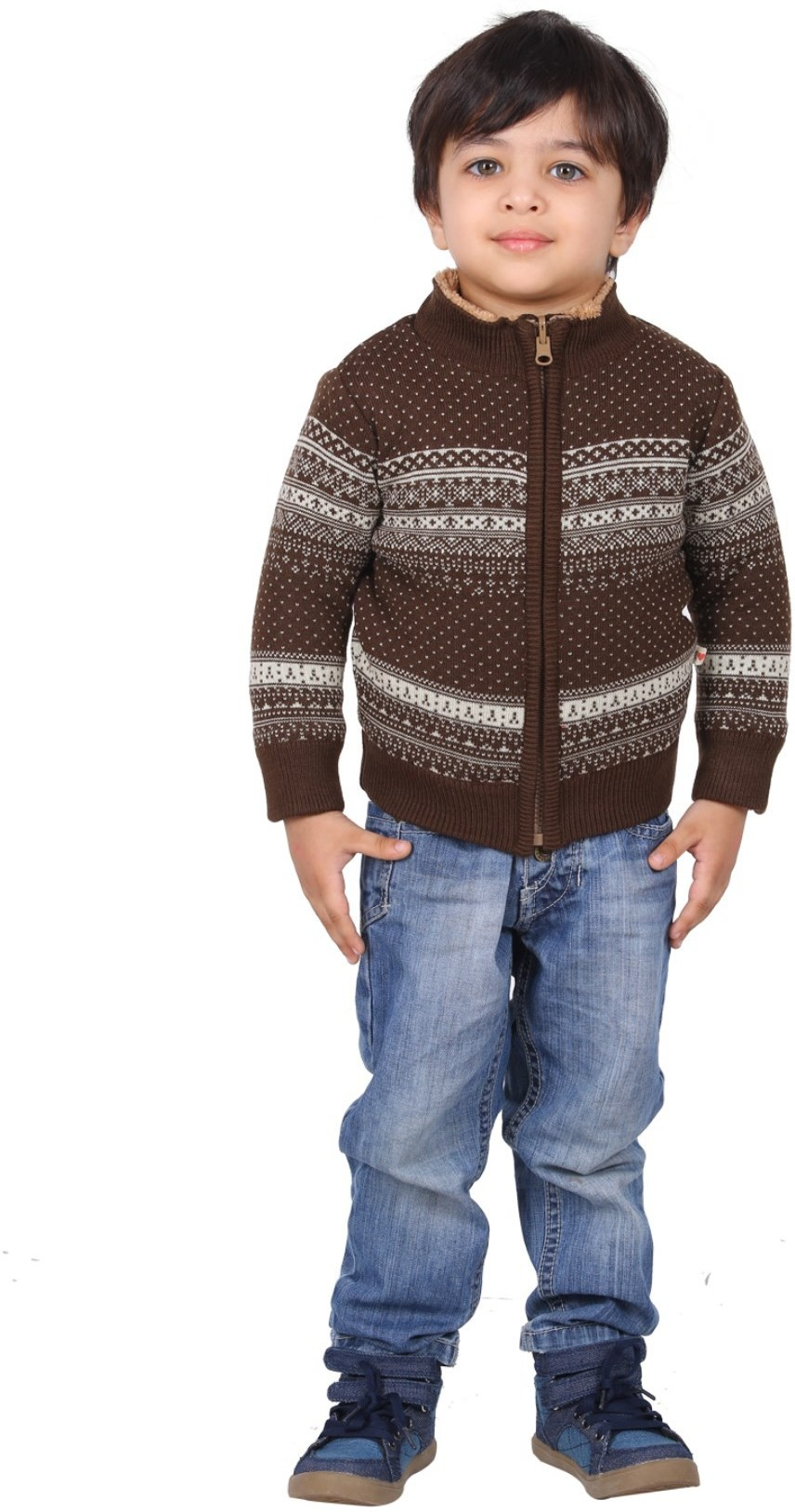 Yellow Apple Striped Round Neck Casual Boys Brown Sweater