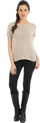 Fashion Haven Solid Round Neck Casual Women's Brown Sweater