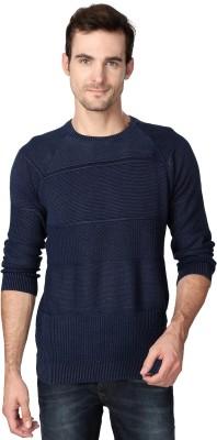 Van Heusen Self Design Round Neck Men's Dark Blue Sweater